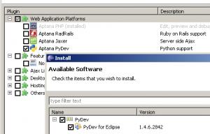 Aptana PyDev Install